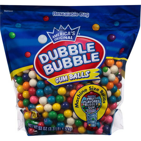 Dubble Bubble Assorted Fruit Flavored Gum Balls, 53 Oz.