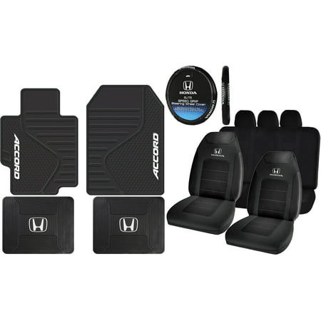 12 Piece ALL Weather Heavy Duty Rubber Front Rear Floor Mats Steering Seat Covers & Universal Bench Set For Honda Accord