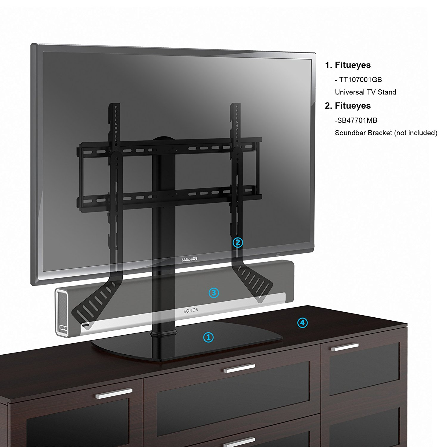 Fitueyes Universal Tabletop Tv Stand Base With Mount For 27 To 65 Inch Samsung Lg Vizio Ftt107001gb
