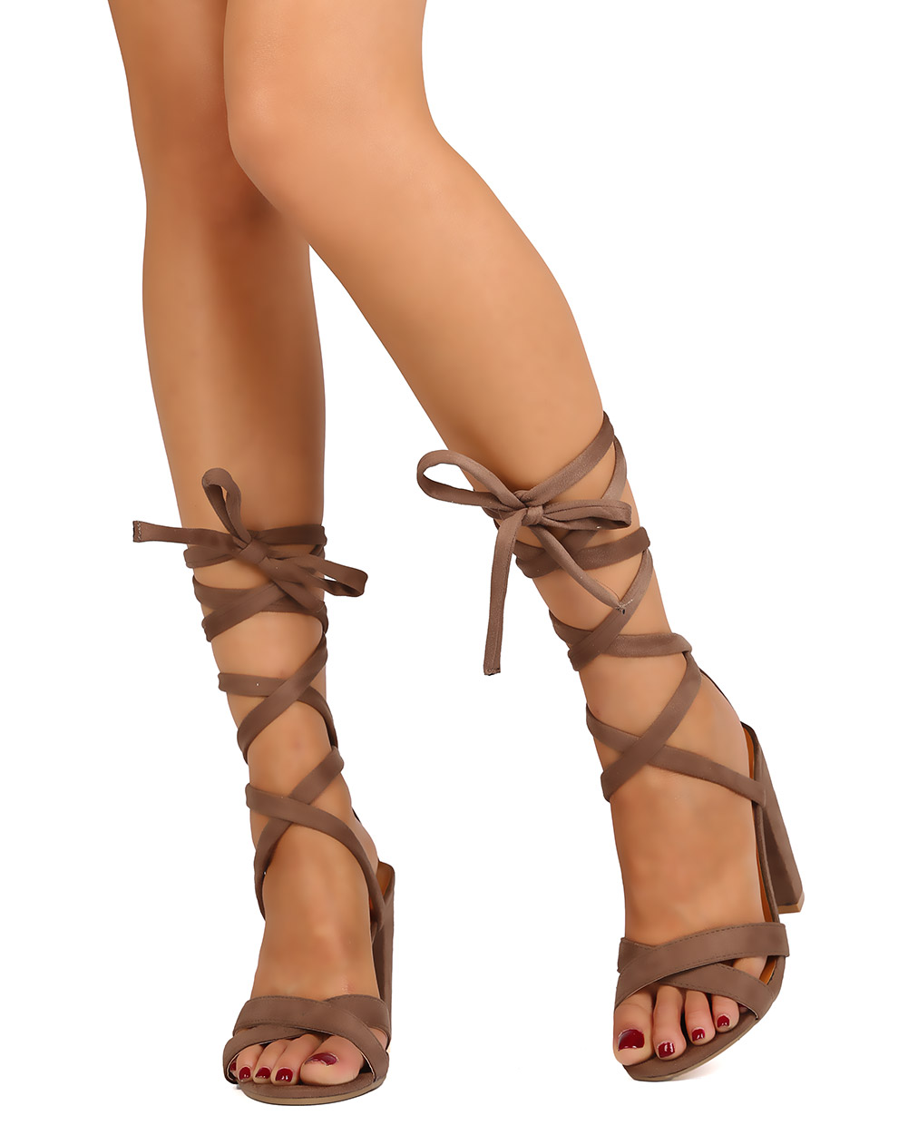 b2858e89250 Betani - Betani FC53 Women Faux Suede Open Toe Cross Band Ankle Wrap Block  Heel Sandal - Walmart.com