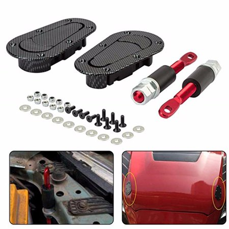 Dodge Stealth Carbon Fiber Hood - Vehicle Parts Racing Car Carbon Fiber Style Hood Pin Bonnet Plus Flush Mount latch Kit Lock