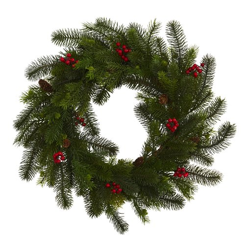 The Holiday Aisle 24'' Pine and Berry Artificial Wreath