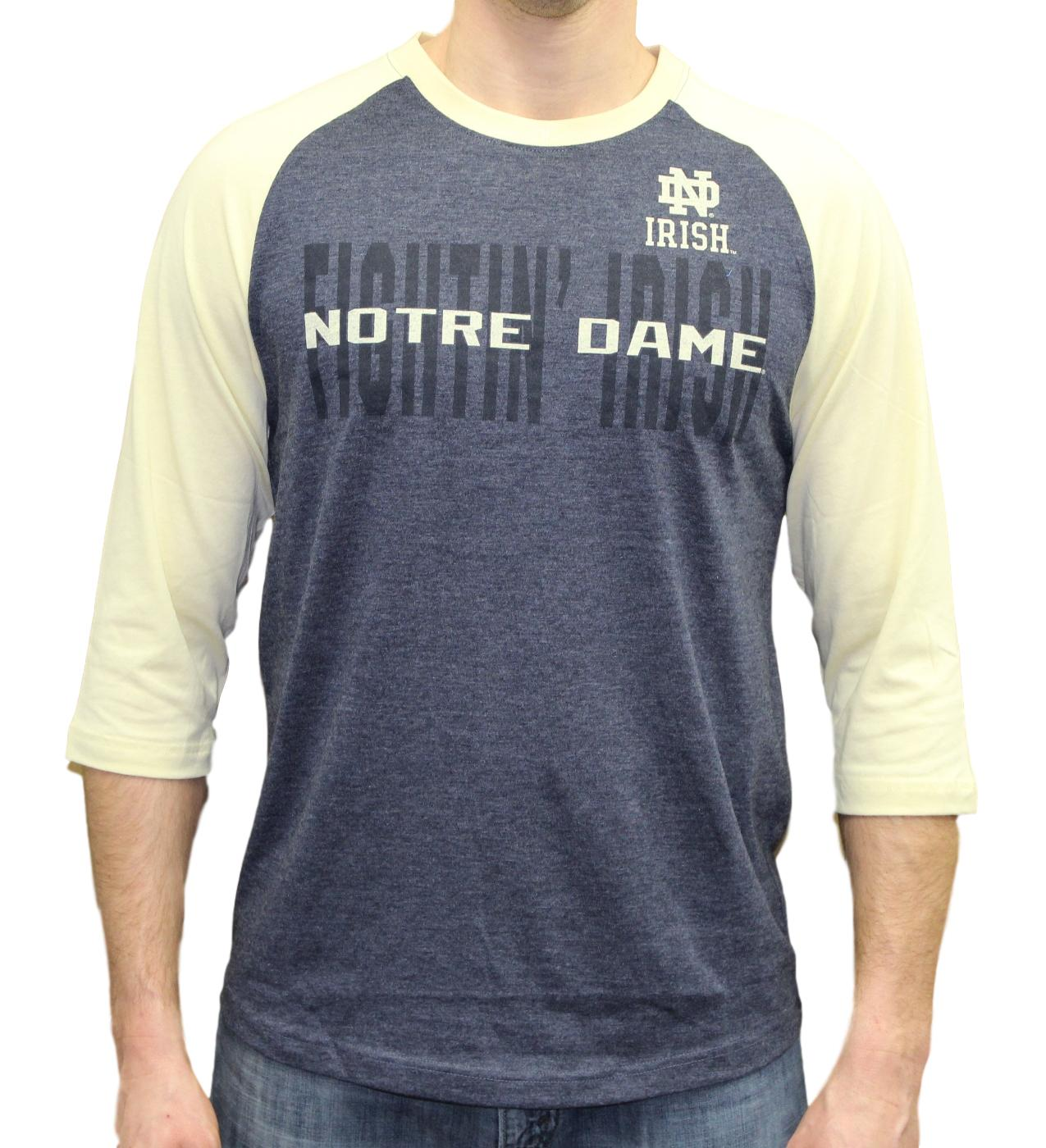 "Notre Dame Fighting Irish NCAA ""Steal Home"" Men's Dual Blend 3/4 Sleeve T-Shirt"