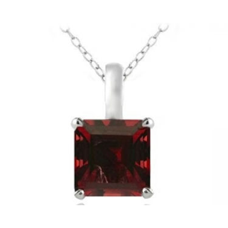 Sterling Silver 2.75ct Created Ruby Square Solitaire Necklace ()