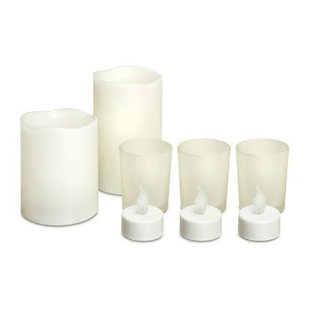 LED Candle Set With 2 Large Flameless Candles 3 LED Tealights 3