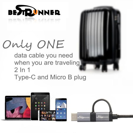 BESTRUNNER Multi-function USB 3.1 Type C /Micro USB Male to USB 2.0 Male Cable - image 1 of 8