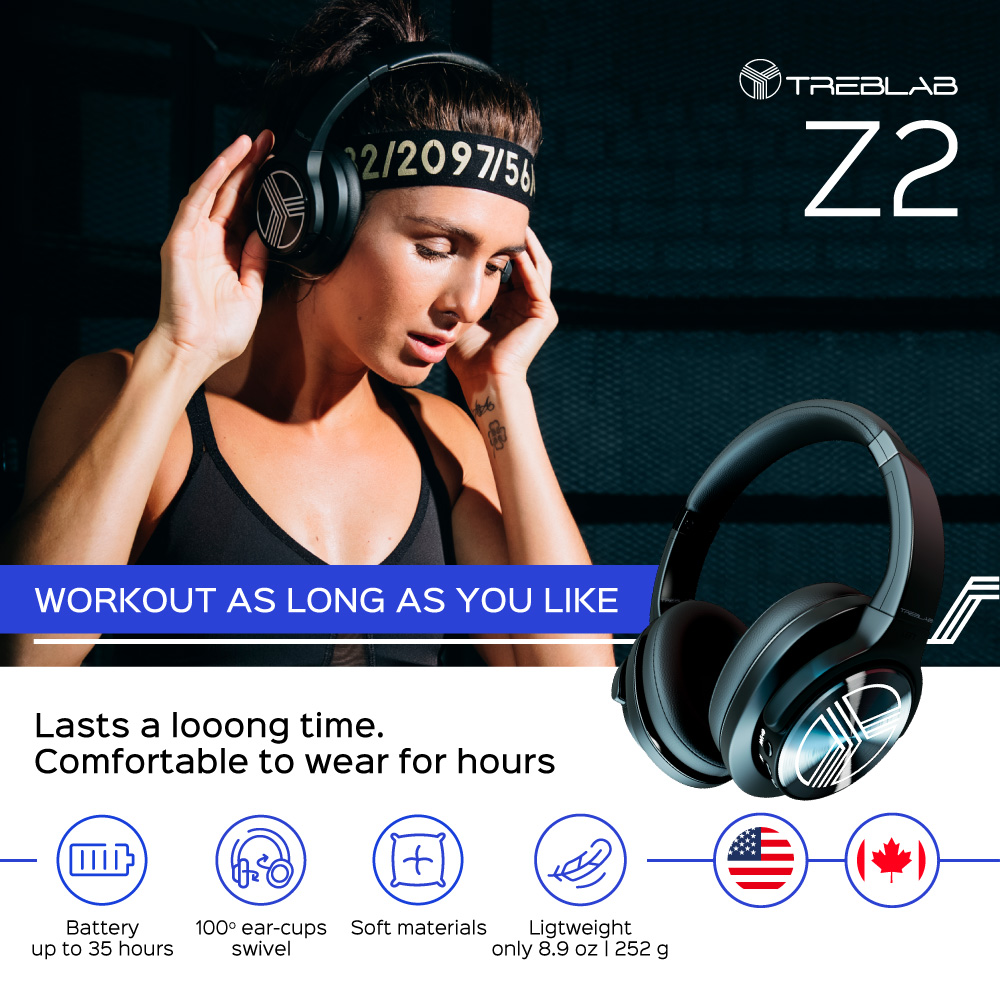 19bae86ac57 TREBLAB Z2 - Over Ear Wireless Headphones - Bluetooth Stereo Sound with  aptX, Active Noise Cancelling ANC Microphone, 35H Long Battery, ...