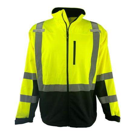Hi Vis Safety Soft Shell Jacket Full Zip ANSI CLASS 3 Men's