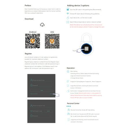 BT Fingerprint Smart Keyless Lock Waterproof APP / Fingerprint Unlock Anti-Theft Padlock Door Luggage Case Lock for Android iOS (Best Fingerprint Lock For Android)