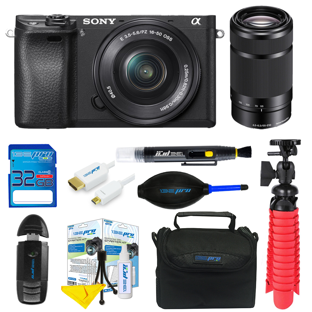 Sony Alpha a6300 Mirrorless Digital Camera with 16-50mm + 55-210mm Lenses + SD Card + Tripod + Pixi Basic Bundle Kit