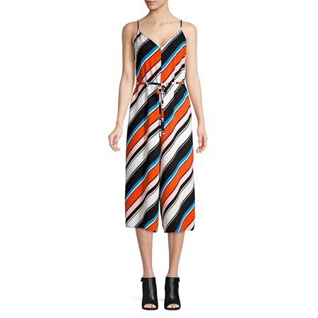 f58e387af885 Miss Selfridge - Multicolored Stripe V-Neck Jumpsuit - Walmart.com