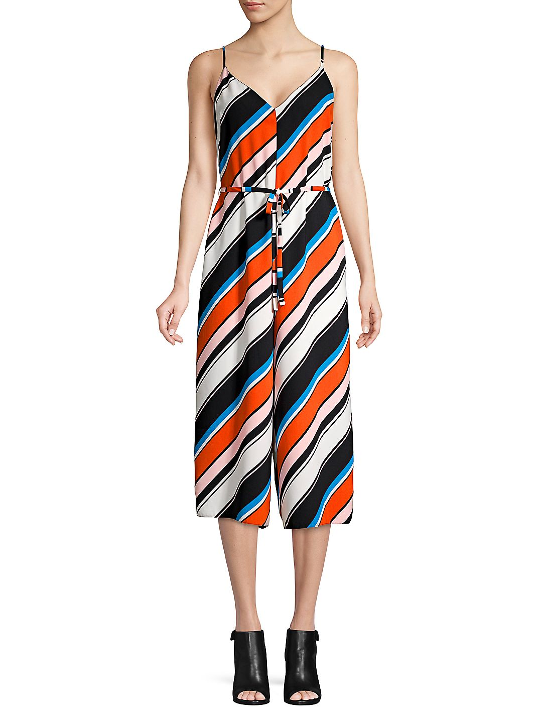 Multicolored Stripe V-Neck Jumpsuit
