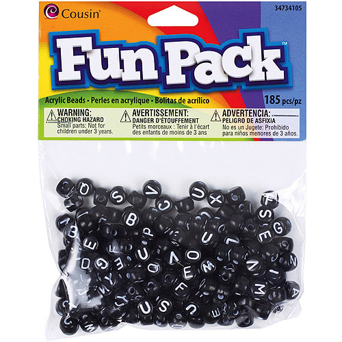 Cousin Fun Pack Acrylic Alphabet Beads, Round, 185pk