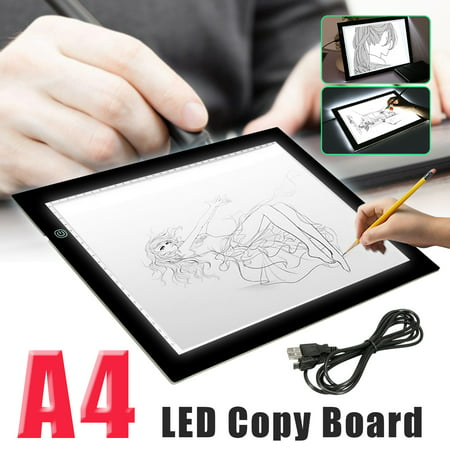 A4 LED Tracing Copy Board Thin Tracer Pad Light Box Tattoo Sketch Art Photo Display Home Painting Learning Studio Student Beginner For Children
