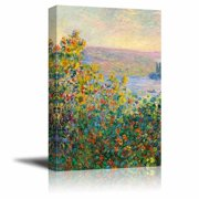 "Flower Beds at V¨¦theuil by Claude Monet - Canvas Print Wall Art Famous Painting Reproduction - 32"" x 48"""