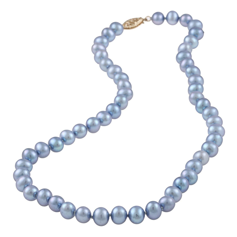 Brilliant Bijou 14k White Gold 8-9mm Grey FW Cultured Pearl Necklace