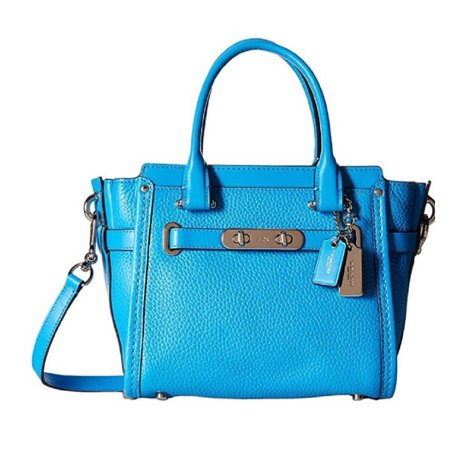 ca6e12d0 COACH 37444 SWAGGER 21 AZURE PEBBLED LEATHER SATCHEL CROSSBODY BAG