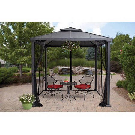 Screen Window Gazebo (Better Homes & Gardens Sullivan Ridge 8 ft. Hard Top Outdoor Gazebo )