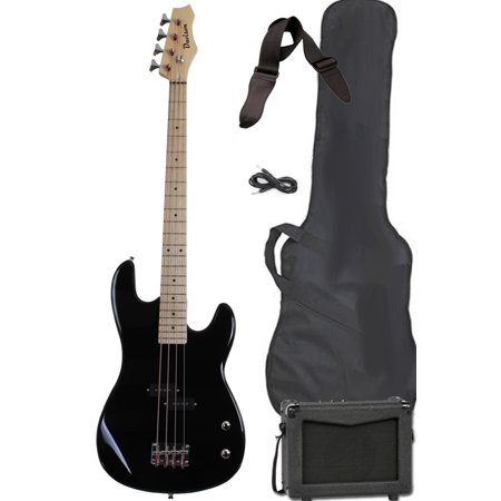 Davison Guitars Electric Bass Guitar Black Full Size With Amp Strap Case Cord And Picks (105 Electric Bass)