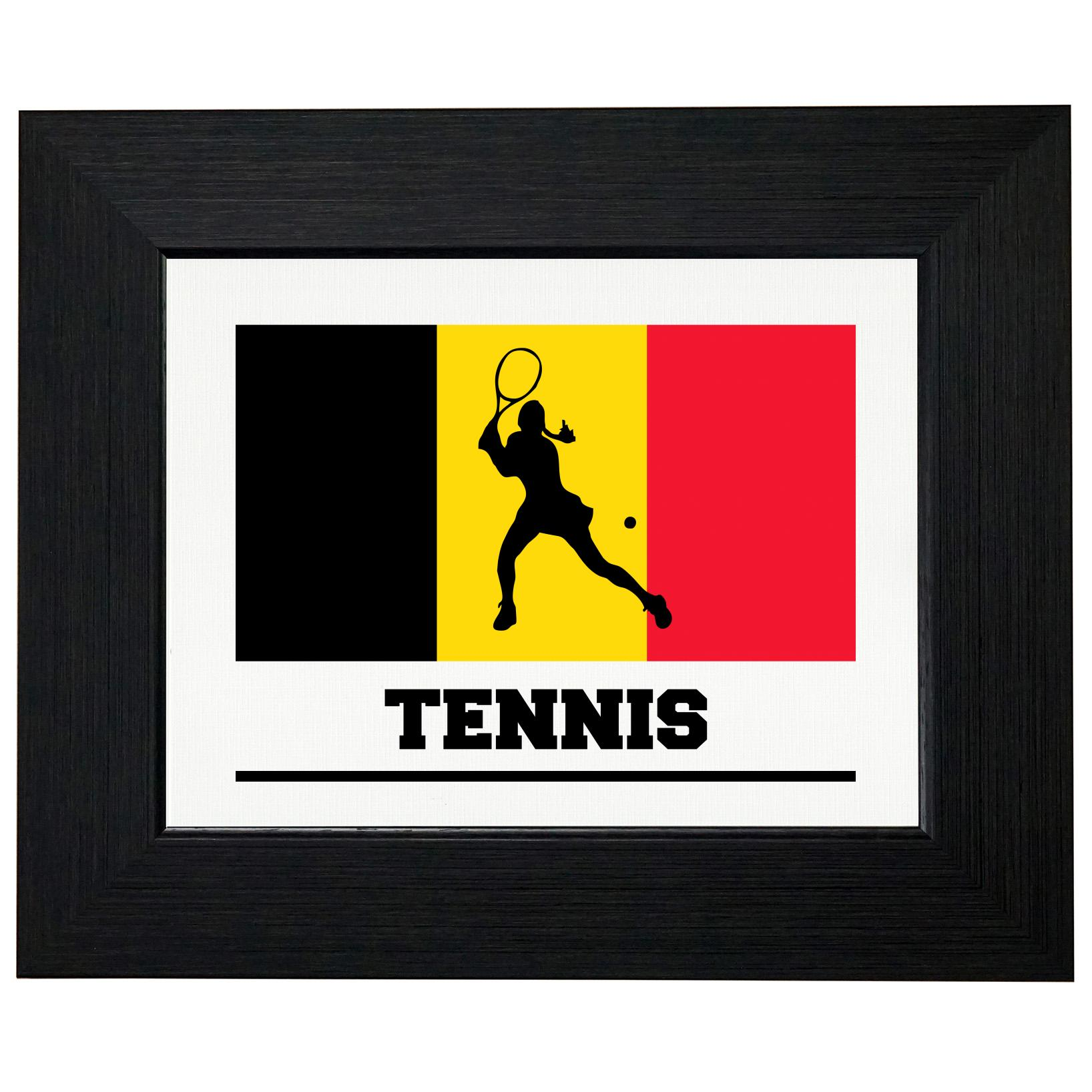 Belgium Olympic - Tennis - Flag - Silhouette Framed Print Poster Wall or Desk Mount Options