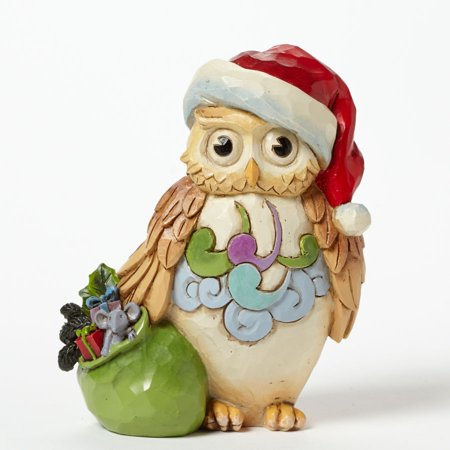 2 Owl Figurines - Jim Shore Heartwood Creek Christmas Owl Mini Figurine 4041105 New