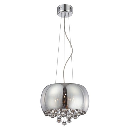 Othello 8 Light Pendant, Chrome with Smoke Mirrored Convex Glass Shade and Facet Cut Crystal Accent