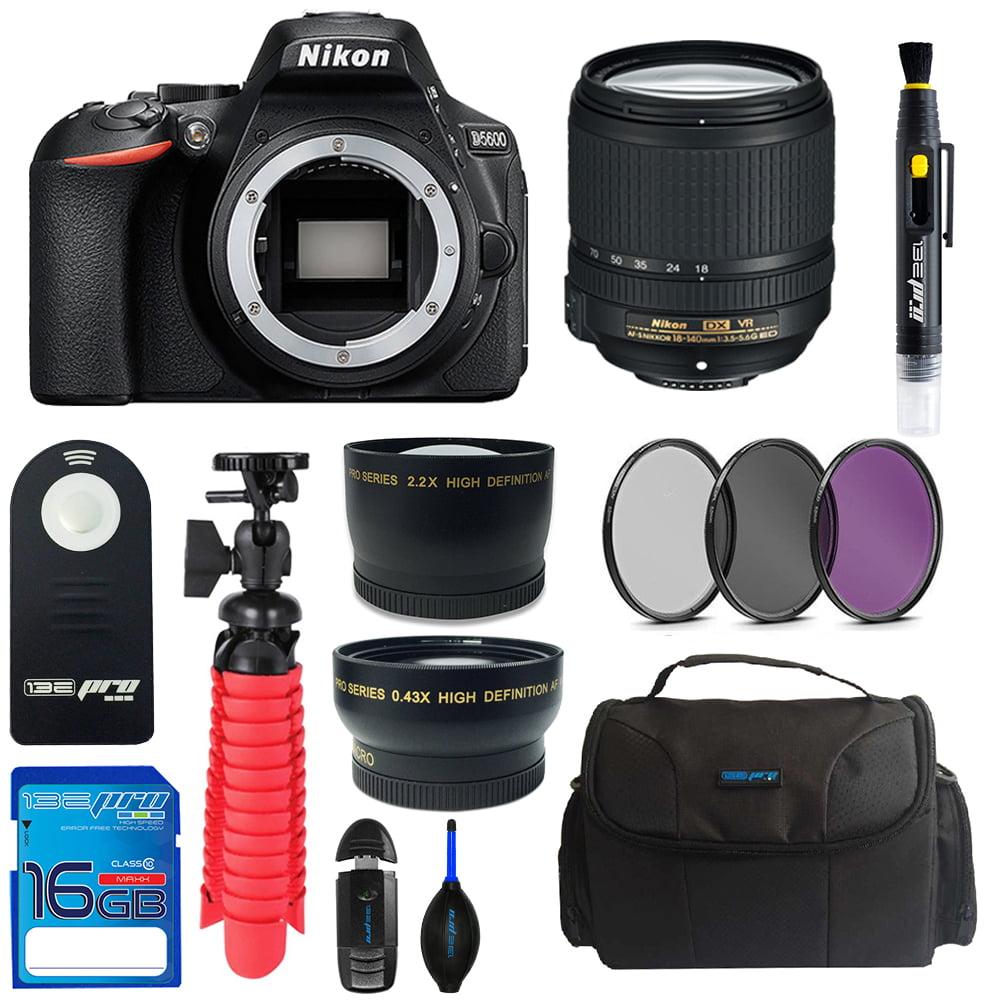 Nikon D5600 DSLR Camera + Nikon AF-S DX NIKKOR 18-140mm f/3.5-5.6G ED VR Lens + 16GB SD Card + Camera Case + Tripod + Pixi Basic Bundle Kit