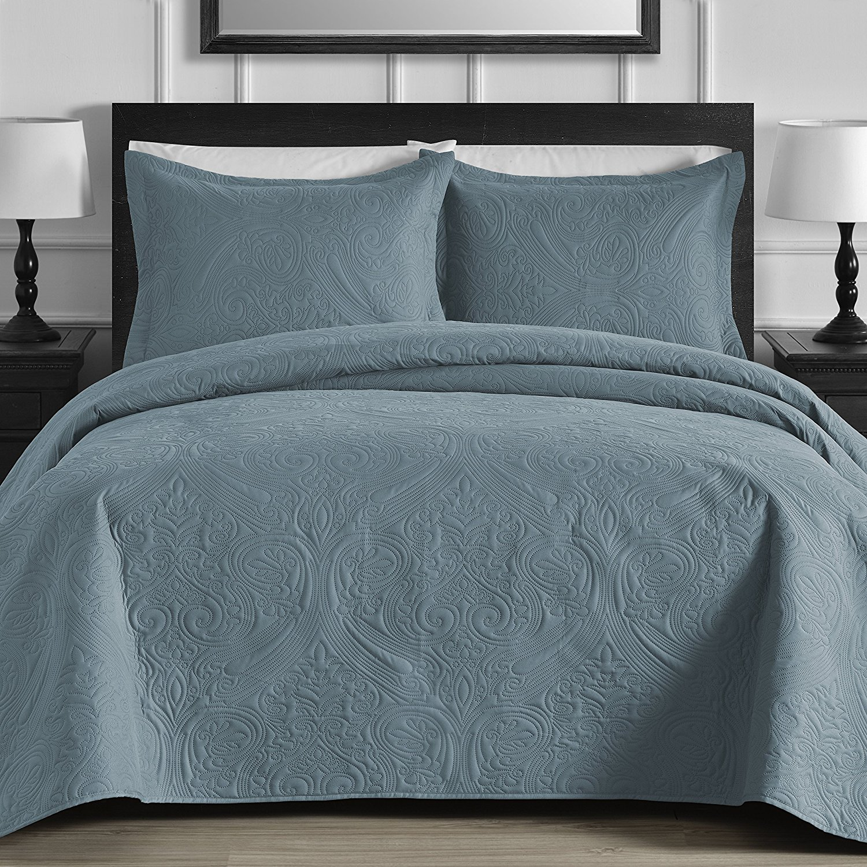 Floral 3-Piece Oversized Quilt   Coverlet Set with Cotton Filling, Parent, Parent by