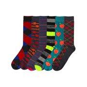 Mens Classic Designs & Fun Food Novelty 6-Pack Dress Socks