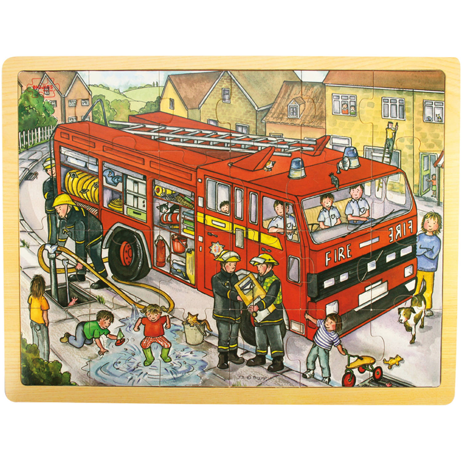 Bigjigs Toys 24-Piece Tray Puzzle, Fire Engine
