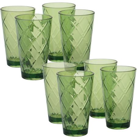 Green Set/8 Acrylic Ice Tea Glass 20 oz. (220 Grams) Forest Green Glassware