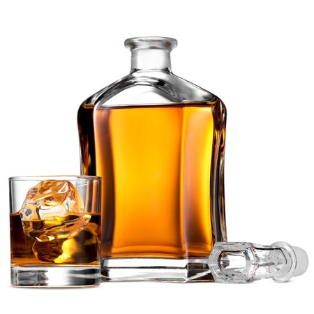 ShopoKus Capitol Glass Decanter with Airtight Geometric Stopper - Whiskey Decanter for Wine, Bourbon, Brandy, Liquor, Juice, Water, Mouthwash | 23.75