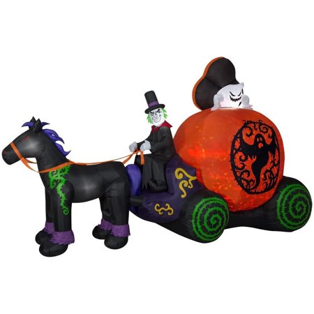Gemmy Halloween Inflatable 12 ft. Pre-Lit Projection Kaleidoscope Fuzzy Ghost Coach Scene (RRPm) Decor  220284