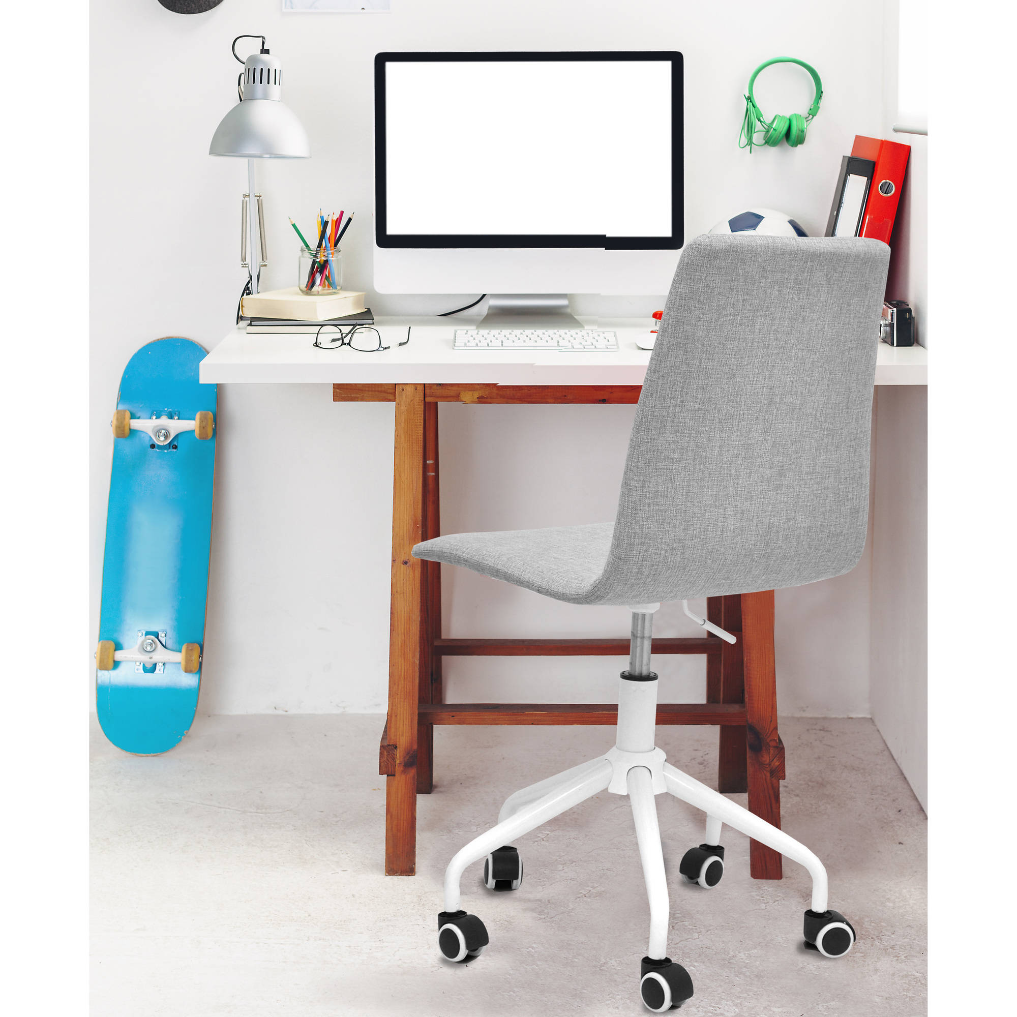 Mainstays Rolling Linen Swivel Office Chair, Multiple Colors