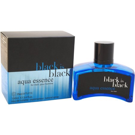 Nuparfums Black is Black Aqua Essence for Men Eau de Toilette Spray, 3.4 (Aqua Eau De Toilette Spray)
