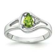 Primal Gold 14 Karat White Gold 6x4mm Pear Peridot and Diamond Ring