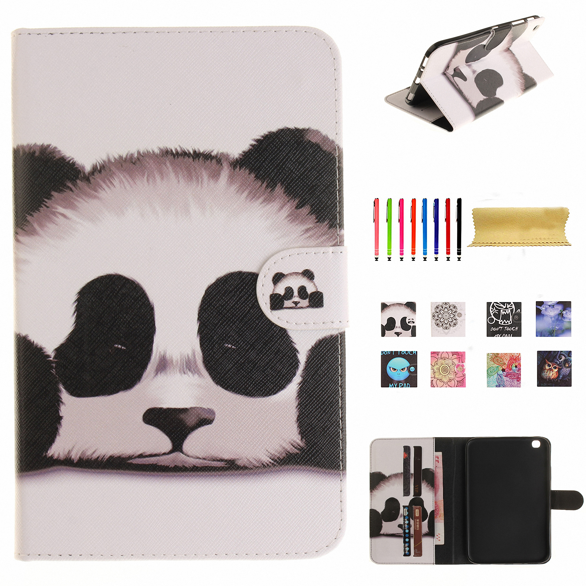 "Dteck For Samsung Galaxy Tab 3 8.0"" SM-T310 Leather Magnetic Colored Pattern Flip Wallet Card Slots Stand Case Cover Panda"
