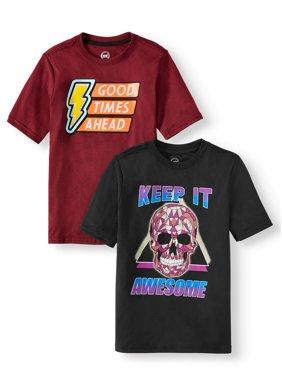 Wonder Nation Super Soft Short-Sleeve Graphic T-Shirt, 2-Pack Bundle (Little Boys, Big Boys, & Husky)