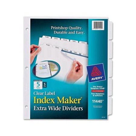 Avery Index Maker Extra-Wide Tab Dividers AVE11440 Avery Index Maker Translucent Dividers