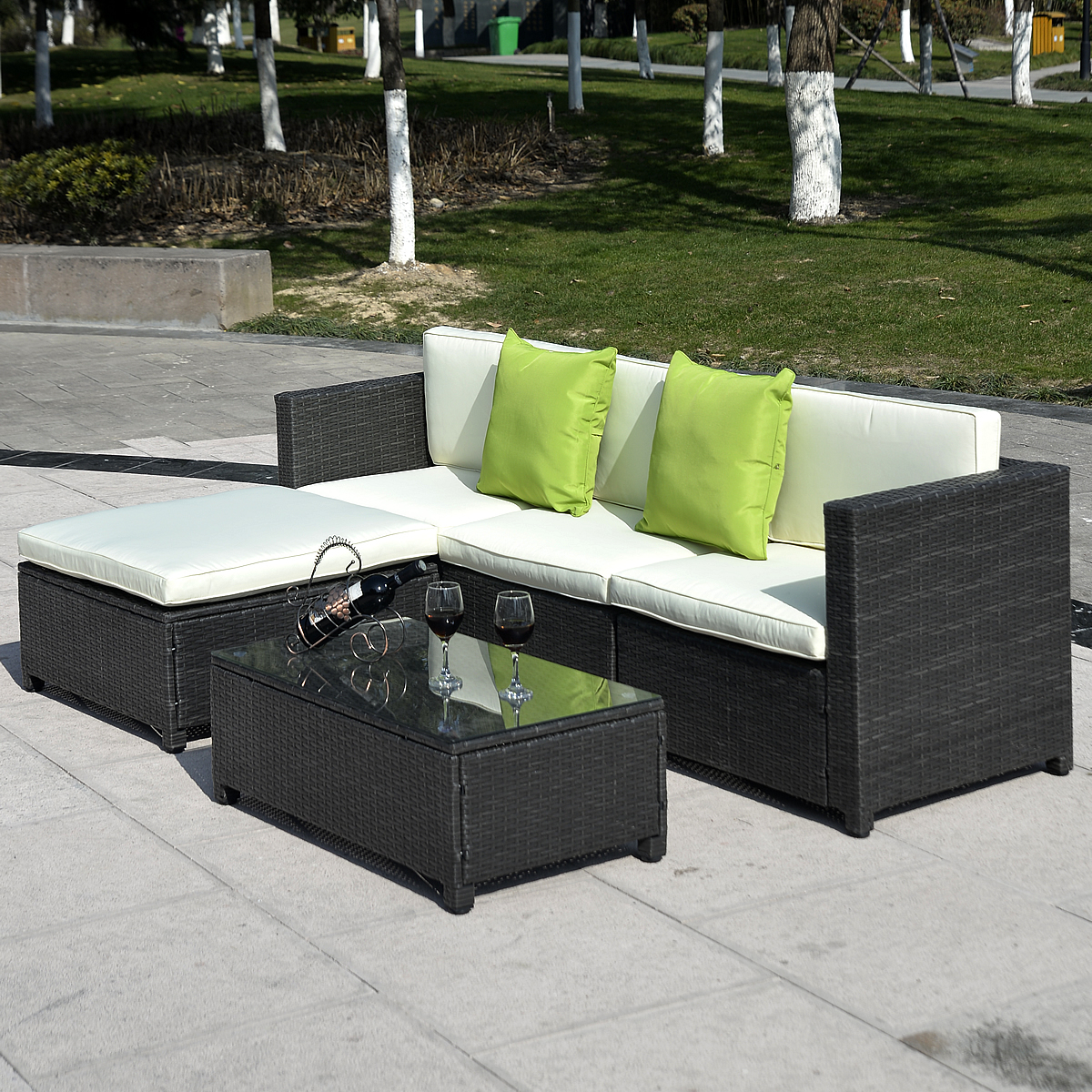 Costway Outdoor Patio 5pc Furniture Sectional Pe Wicker Rattan Sofa