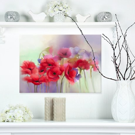 Watercolor red poppy flowers painting large floral canvas artwork mightylinksfo