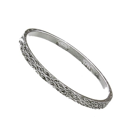 Sterling Silver Thin Stackable Wedding Band Hammered Ring 1.5mm Italy Size 6