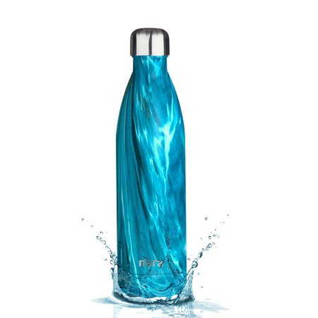 MIRA Vacuum Insulated Travel Water Bottle | Leak-proof Double Walled Stainless Steel Cola Shape Sports Water Bottle | No Sweating, Keeps Your Drink Hot & Cold | 25 Oz (750 ml) | Dynamic Blue Safe Drinking Water Storage