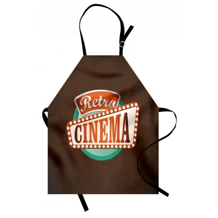 Movie Theater Apron Retro Style Cinema Sign Design Film Festival Hollywood Theme, Unisex Kitchen Bib Apron with Adjustable Neck for Cooking Baking Gardening, Brown Turquoise Vermilion, by - Classic Hollywood Theme
