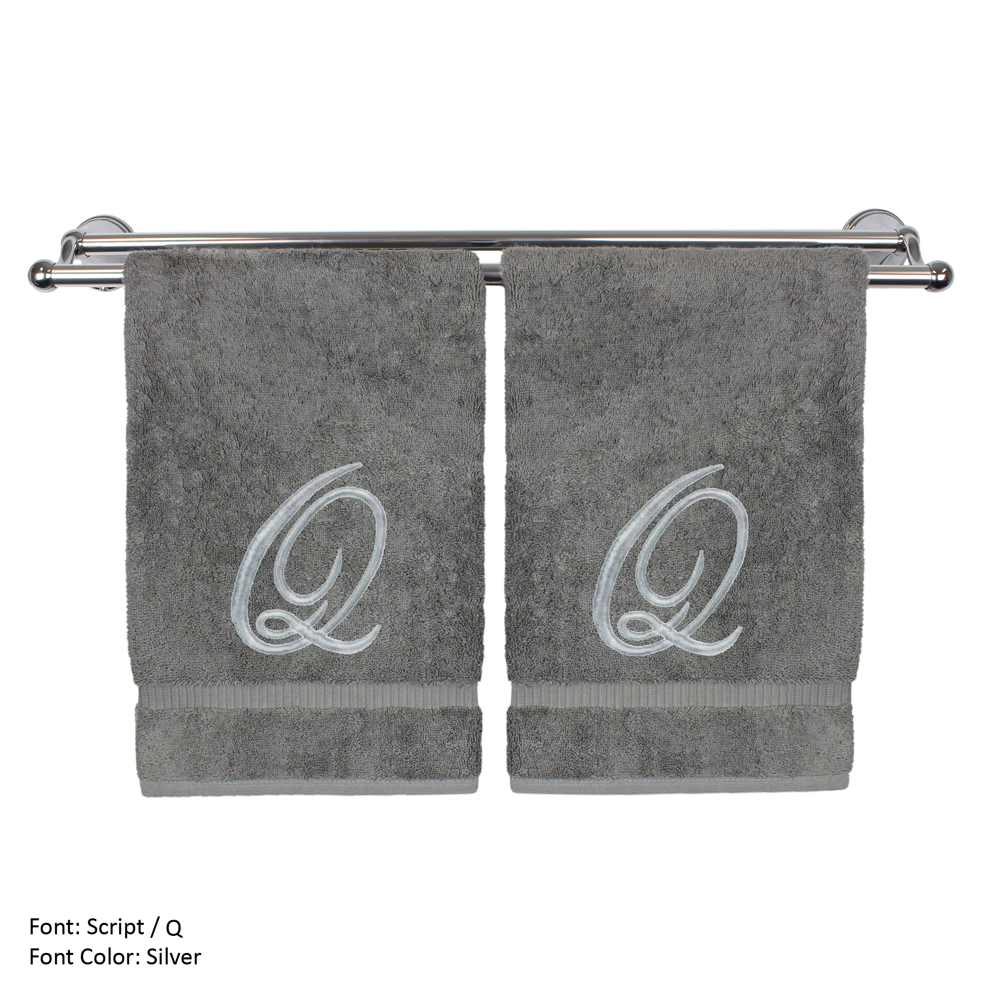 Monogrammed Washcloth Towel, Personalized Gift, 13x13 Inches - Set of 2 - Silver Script Embroidered Towel - Extra Absorbent 100% Turkish Cotton - Soft Terry Finish - Initial Q Gray