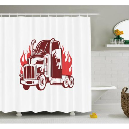 Truck Shower Curtain 18 Wheeler Silhouette On Fire Monochrome Transportation Theme Retro Sketch Style