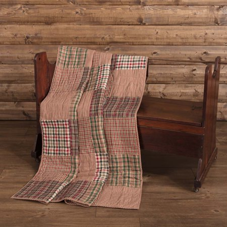 - Deep Red Rustic Christmas Decor Clement Rod Pocket Cotton Pre-Washed Patchwork Throw