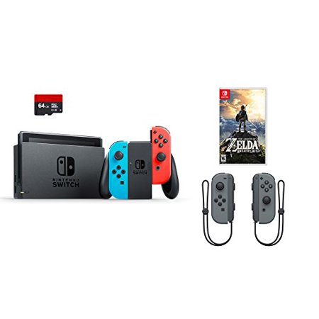 Nintendo Swtich 4 items Bundle:Nintendo Switch 32GB Console Red and Blue Joy-con,64GB Micro SD Memory Card and an Extra Pair of Nintendo Joy-Con (L/R) Wireless Controllers Gray,The Legend of (Micro Parent Console)