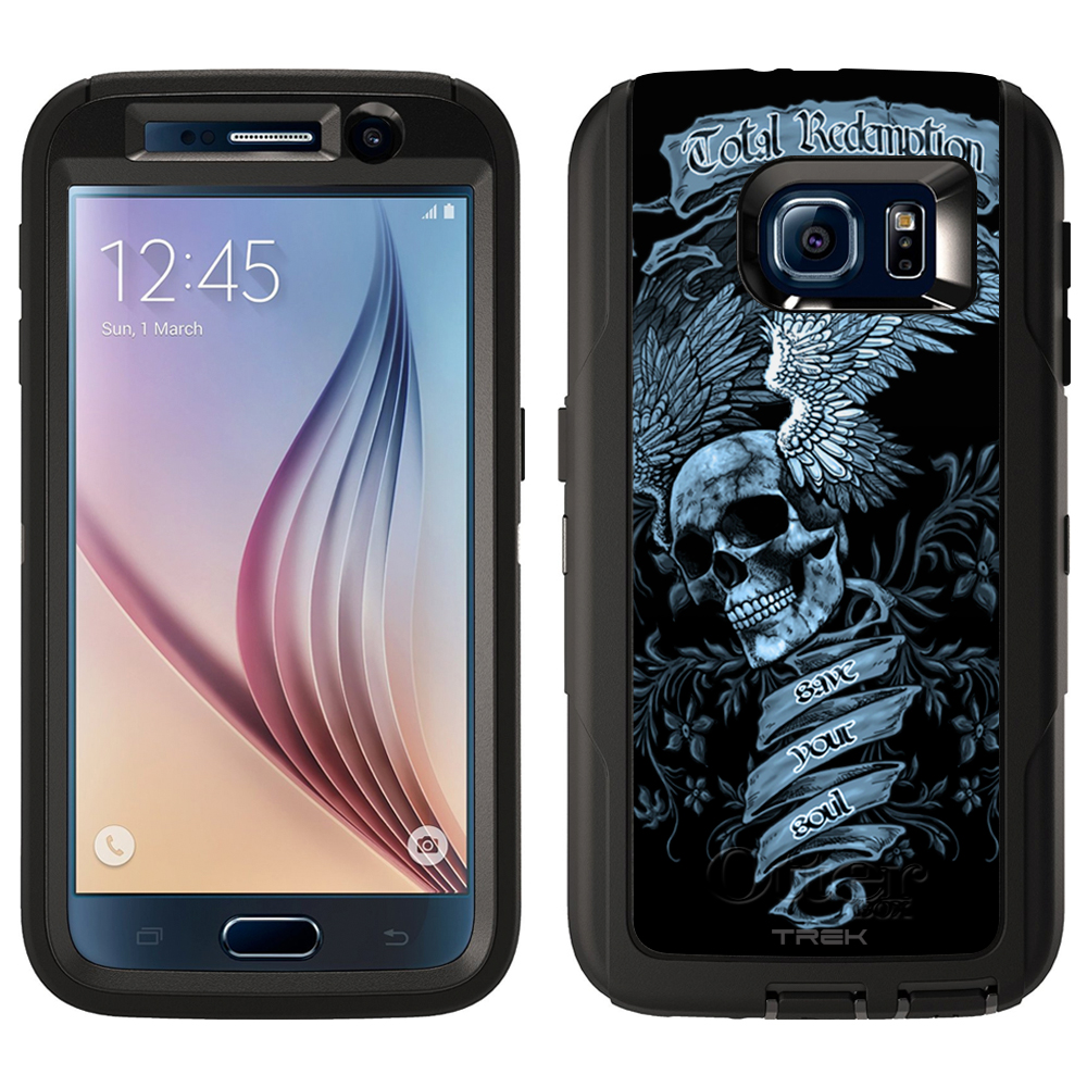 SKIN DECAL FOR Otterbox Defender Samsung Galaxy S6 Case - Skull Wing Blue on Black DECAL, NOT A CASE