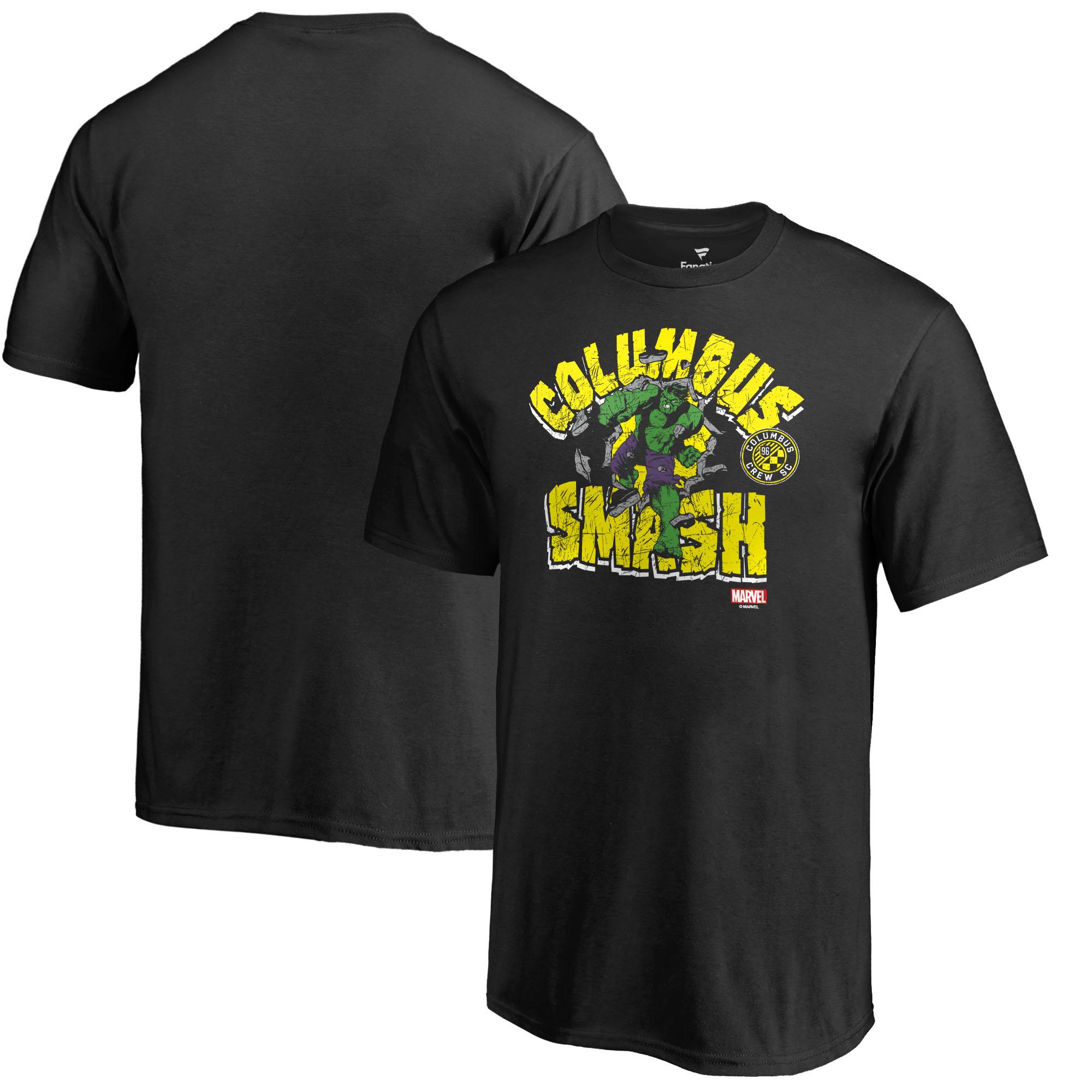Columbus Crew SC Fanatics Branded Youth MLS Marvel Hulk Smash T-Shirt - Black